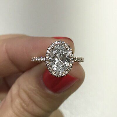 1.70 Ct Oval Brilliant Cut Diamond Halo Engagement Ring E,VS2 GIA 14K White Gold 1