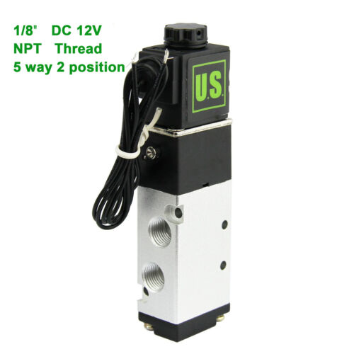 "U.S.Solid 1/8"" DC 12V  5 Way 2 Position Pneumatic Electric Solenoid Valve NPT"
