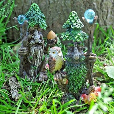 Tree Ent with Staff and Owl Greenman Garden Ornament Sculpture Lawn Decoration