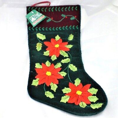 Velvet Poinsettia Flower Ribbon Embroidered Christmas Stocking NEW Red & Green Embroidered Velvet Stockings