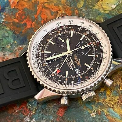 BREITLING NAVITIMER WORLD GMT REFERENCE A24322 CHRONOGRAPH WATCH 100% GENUINE