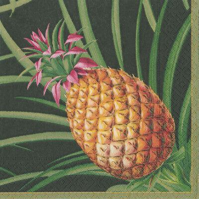 Tropical Fruit Black Pineapple Caspari Paper Lunch Napkins 33cm sq 20 pack