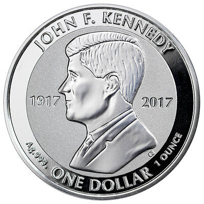 Proof British Virgin Islands (2017 British Virgin Islands Kennedy 1 oz Silver Reverse Proof $1)