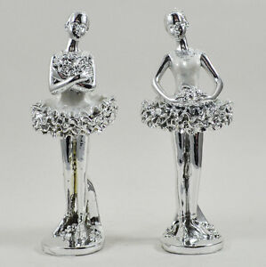 Two Ballerina Ornament Sculpture Silver White Figure Dancing Gift NEW 41006