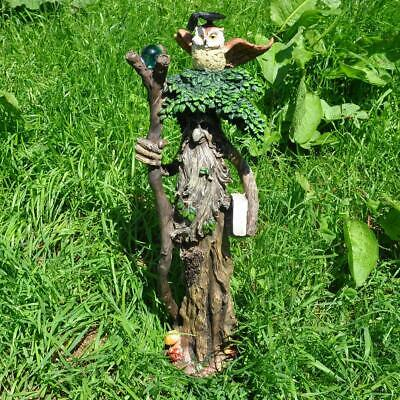 Large Tree Ent with Staff and Owl Greenman Garden Ornament Sculpture