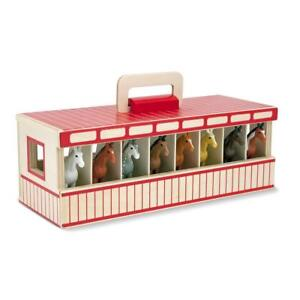 Take Along Show Horse Wooden Stable Write On Name Tag 8 Toy Ponies Play Set New