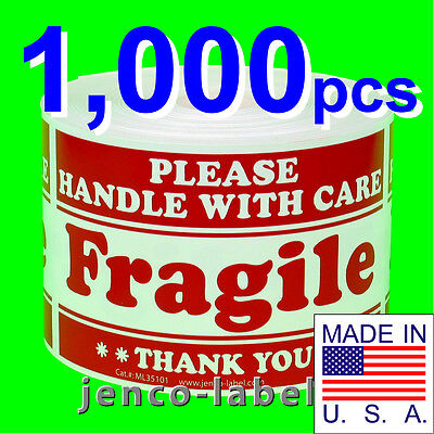 ML35101,1000 3x5 Handle With Care Fragile Label/Sticker on Rummage