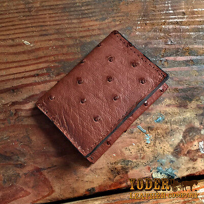 Brown Ostrich Trifold Wallet Amish Hand Made from Genuine Ostrich Skin Tri Fold (Ostrich Tri Fold Wallet)