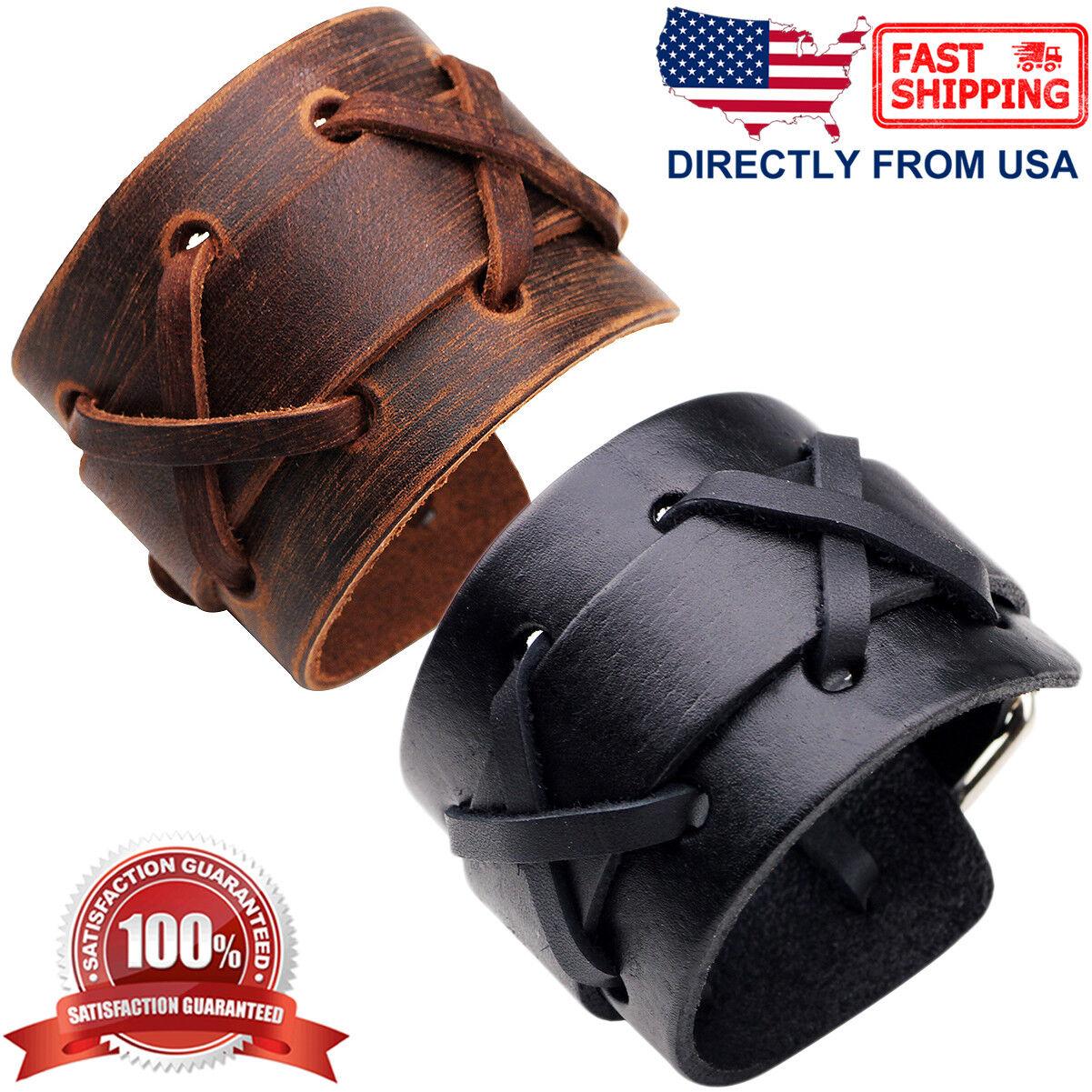 Men's Punk Rock X Patten Genuine Leather Wide Cuff Wristband Bracelet Bracelets