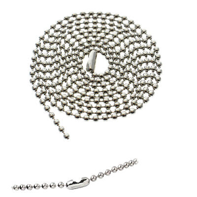 """25 Nickel Plated Ball Bead Neck Chains - ID Badge Holder Lanyard Necklaces 36"""""""