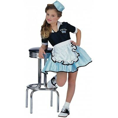 50s Girl Costume Kids Car Hop Waitress Halloween Fancy Dress Up - 50 S Costumes