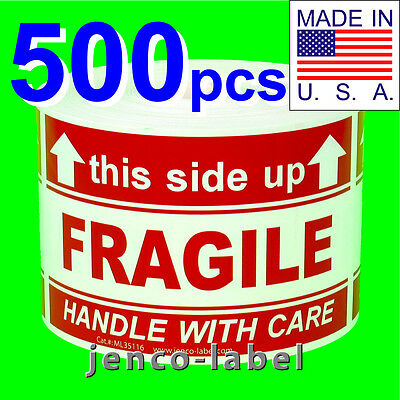 Ml35116 500 3x5 This Side Up Fragile Labelsstickers