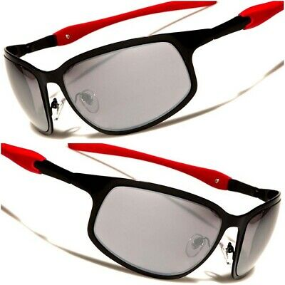 6ee034ee2482 Black & Red Mirrored Lens Mens Designer Stylish Cool Sporty Rectangle  Sunglasses