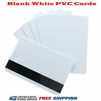 100pcs Blank White Pvc Cards Cr80 30 Mil 3track Hico Magnetic Stripe
