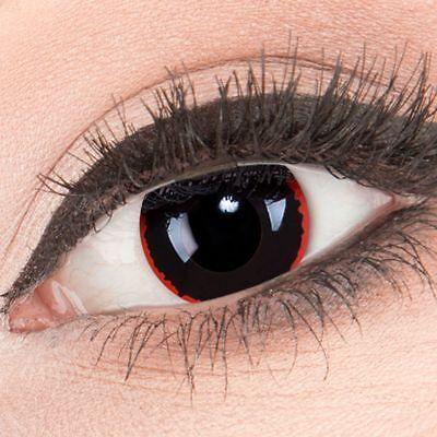 Farbige Halloween Kontaktlinsen Exorcism rot schwarz ohne Stärke Crazy Fun Linse