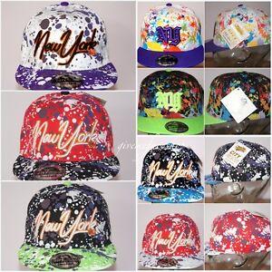 Colori-Splash-cappello-snapback-bling-visiera-piatta-baseball-aderente-cappelli