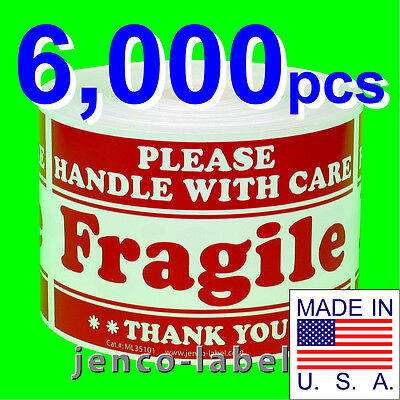 Ml35101 6000 3x5 Handle With Care Fragile Labelsticker