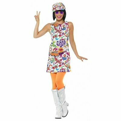 Hippie Chick Halloween Costume (60's Groovy Chick Halloween Costume Womens White Hippie Fancy Dress + Hat)