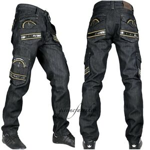 Peviani-Mens-combat-g-jeans-club-cargo-black-rock-star-denim-pants-hip-hop-sh