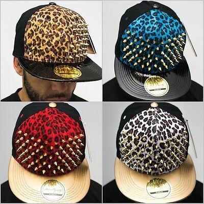 bling stud snapback caps, leopard velvet flat peak hats premium top gold quality ()