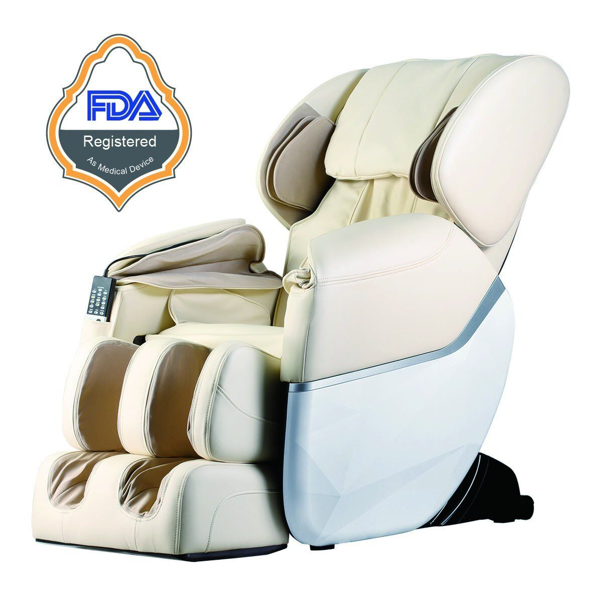 New Electric Full Body Shiatsu Massage Chair Recliner Zero Gravity w/Heat 77 Beige