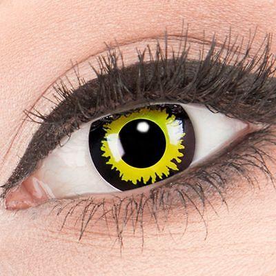 ntaktlinsen Eclipse gelbe schwarze ohne Stärke Crazy Fun (Gelbe Kontaktlinsen Halloween)
