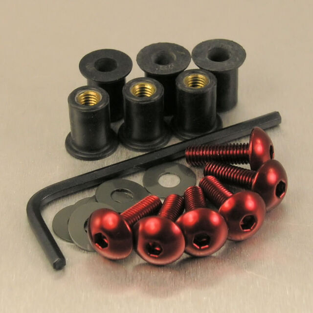 SCREEN BOLT KIT HONDA CBR500R 2016+ 6 BOLT RED ALUMINIUM