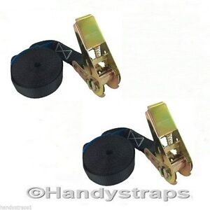 1 pair BLACK 5m x 25mm endless RATCHET TIE DOWN STRAP 800kg