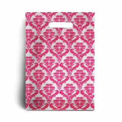 Standard Shocking Pink Damask Print Plastic Carrier Bags - 15