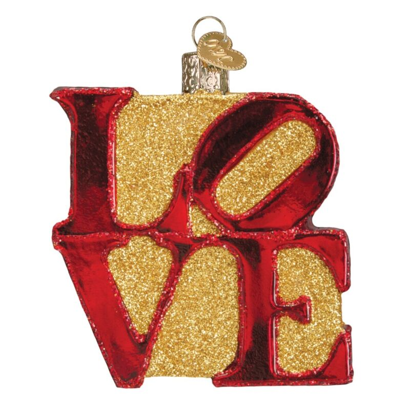 Old World Christmas Love Word Sculpture Glass Tree Ornament 36170 FREE BOX New