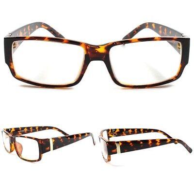 Stylish Mens Womens Rectangle Tortoise Casual Nerd Clear Lens Eye Glasses (Stylish Mens Frames)