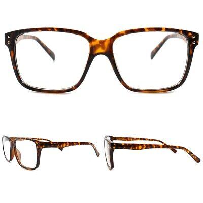 Stylish Mens Womens Designer Modern  Tortoise Rectangle Clear Lens Eye Glasses ()