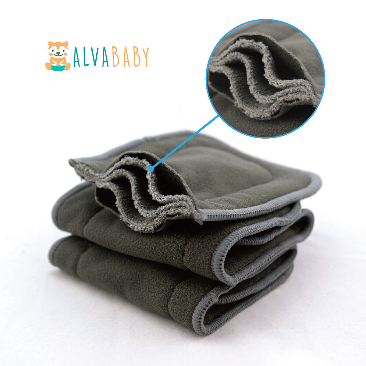 ALVABABY Cloth Diapers One Size Reusable Washable Pocket Nappy + Insert U Pick With 1 5layers charcoal bamboo insert