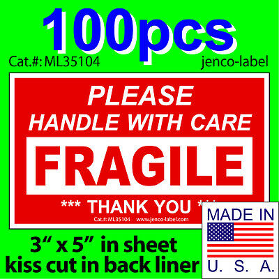 Ml35104 100s 3x5 Handle With Care Fragile Labelsticker