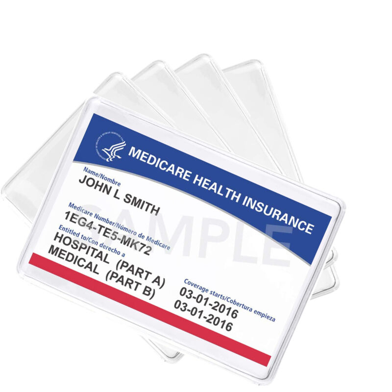 5 Pack - Medicare Card Holder Protector Sleeves - Clear Vinyl Credit Card Covers