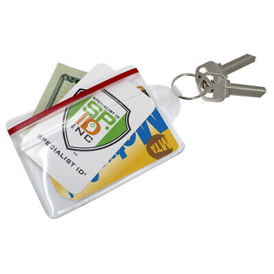 Soft Vinyl ID Badge / Fuel Card Holder with Key Ring & Water Resistant Zip