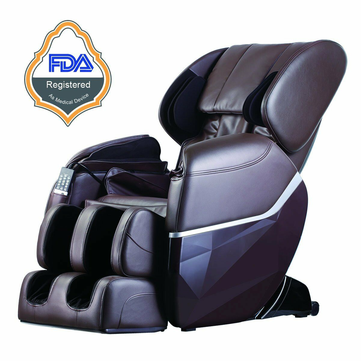 New Electric Full Body Shiatsu Massage Chair Recliner Zero Gravity w/Heat 77 Brown