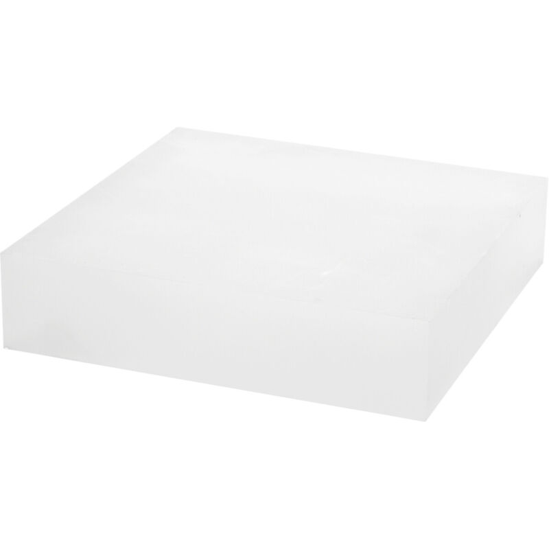 """Plymor Frosted Polished Acrylic Square Display Block, 2"""" H x 8"""" W x 8"""" D"""