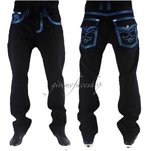 VERO-Peviani-Jeans-da-uomo-URBAN-BAR-Star-Time-Is-Money-Hip-Hop-Rock-Pantaloni