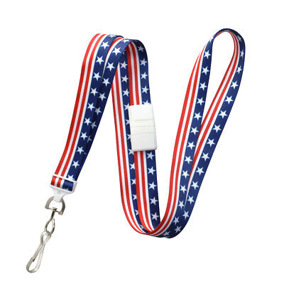 100 pc Patriotic American Flag USA ID Lanyards - Red White & Blue with Breakaway