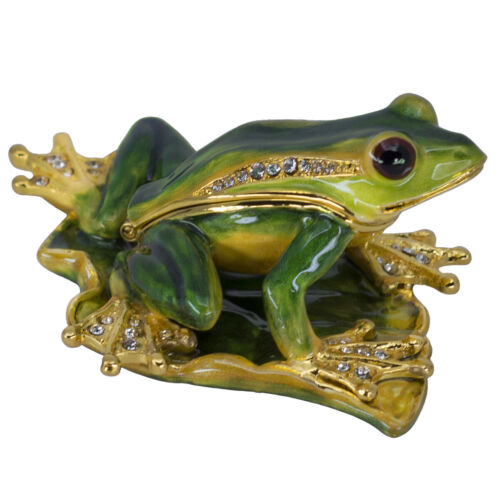 "Bejeweled Enameled Metal Frog Trinket Box With Austrian Crystals 3.25"" Long New!"