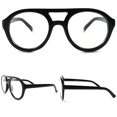 Round Old Retro 80s 90s Fashion Nerd Geek Dork Hipster Clear Lens Black (90s Nerd Glasses)