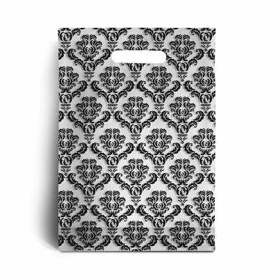 Standard Black Damask Print Plastic Carrier Bags - 15