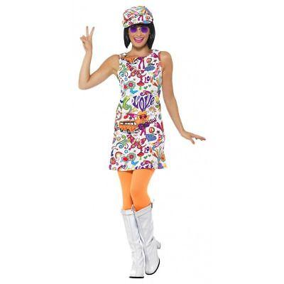60's Groovy Chick Halloween Costume Womens White Hippie Fancy Dress + Hat SM-XL (Hippie Chick)