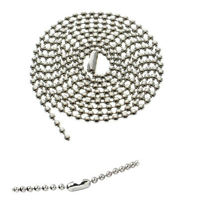 """2 Nickel Plated Ball Bead Neck Chains - ID Badge Holder Lanyard Necklace 36""""Long"""