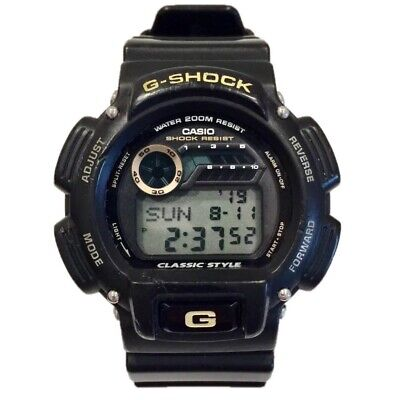"Casio G-Shock RARE ""Classic Style"" Vintage 200M Watch Digital Black Gold DW-9051"