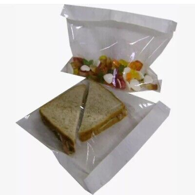 "Film Front Cellophane Paper Clear Window Cake Sandwich Bags 7x7"" X1000 Bags"