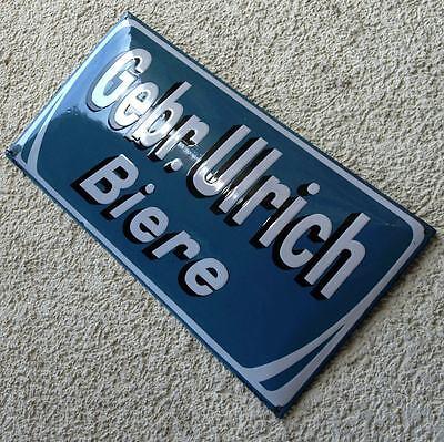 GEBR. ULRICH BIER Antikes Emailschild Leipzig um 1910 Stadt Brauerei JUGENDSTIL