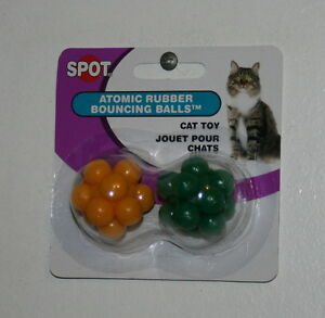 SPOT ATOMIC RUBBER BOUNCING BALLS CAT TOY GREEN/YELLOW