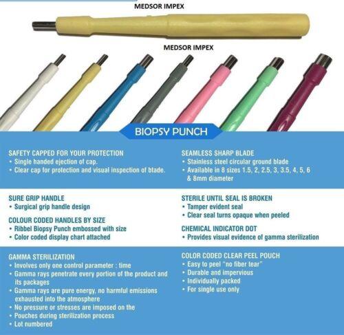 Biopsy Dermal Punch Sterile Tip Sealed Piercing Needle Anchor Multi Size 10 Pcs